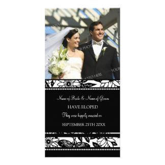 Elopement Announcement Photo Card Black Floral