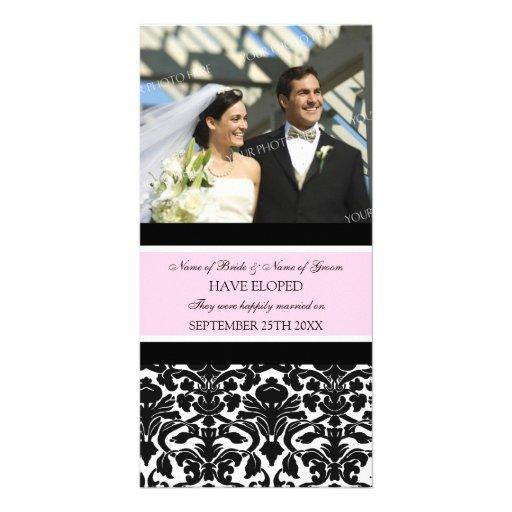Elopement Announcement Photo Card Pink Damask