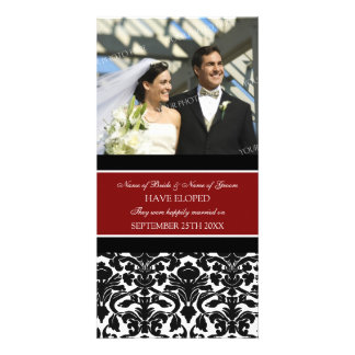 Elopement Announcement Photo Card Red Damask