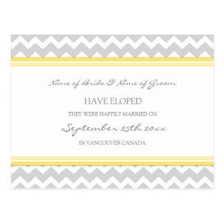 Elopement Announcement Postcards Yellow Gray