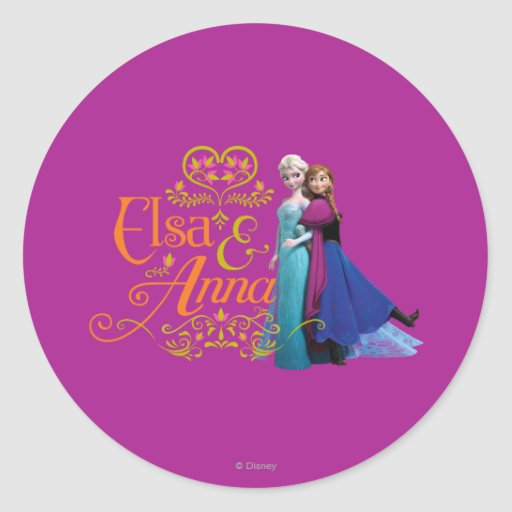 Elsa and Anna Standing Back to Back Round Stickers