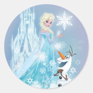 Elsa and Olaf - Icy Glow Round Sticker