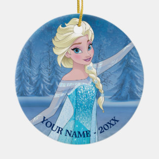 Elsa | In Winter Forest Add Your Name Round Ceramic Ornament