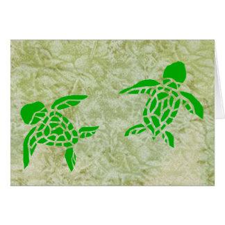 Elua honu (2 sea turtles) blank note card