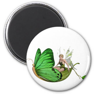 Elven Fairy on a Leaf Boat 2 Inch Round Magnet