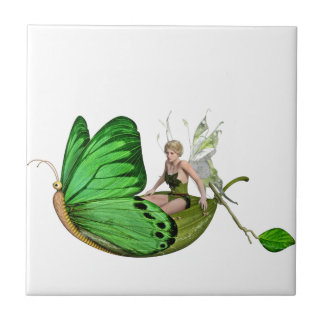 Elven Fairy on a Leaf Boat Ceramic Tiles