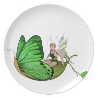 Elven Fairy on a Leaf Boat Plate