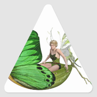 Elven Fairy on a Leaf Boat Triangle Sticker