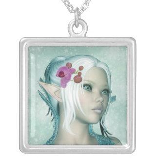 Elven Fantasy Art Silver Necklace