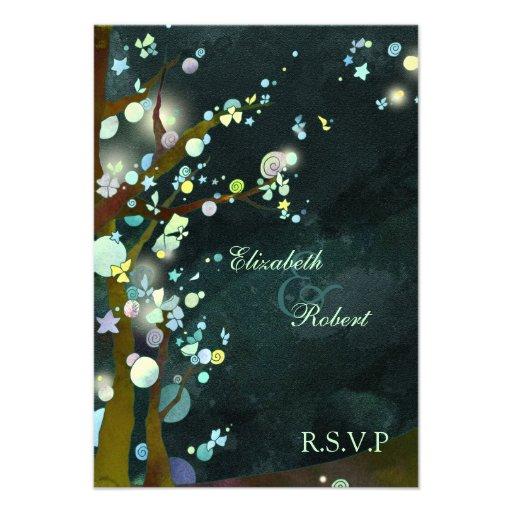 Elven Forest Trees Fantasy Wedding RSVP (3.5x5) Custom Invites