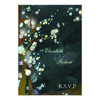 Elven Forest Trees Fantasy Wedding RSVP 3 5x5 Custom Invites