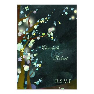 Elven Forest Trees Rustic Wedding RSVP Card