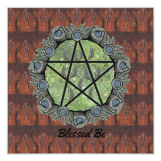 Elvenwood Pentacle Brown Leaf BG. Altar Art Poster