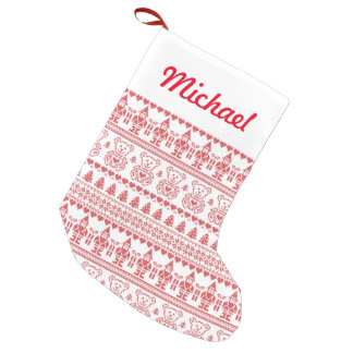 Elves And Teddy Bears Small Christmas Stocking