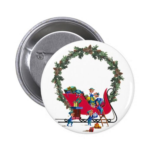 ELVES, SLEIGH & WREATH by SHARON SHARPE Pinback Buttons