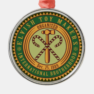 Elves Toy Makers Union Seal Christmas Ornament