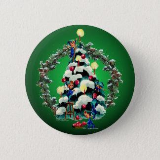 ELVES, TREE & FIR WREATH by SHARON SHARPE 2 Inch Round Button