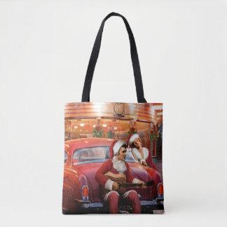 Elvis and Marilyn Christmas Tote Bag