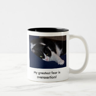 Elvis_on_Zazzle_Overexertion, My greatest fear ... Two-Tone Coffee Mug
