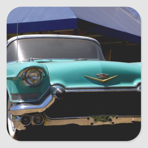 Elvis Presley's Green Cadillac Convertible in Square Sticker
