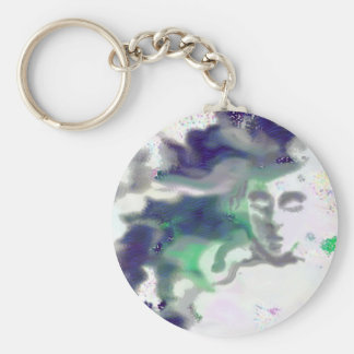 Elvish face - a digital drawing, fantasy art keychain