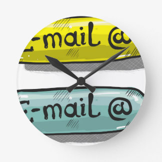EMail Sketch Button Web Round Clock