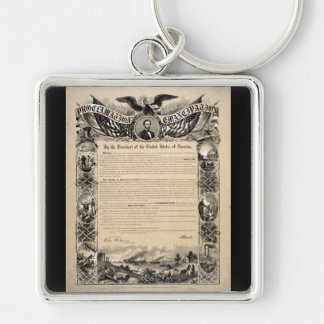 Emancipation Proclamation Print Silver-Colored Square Keychain