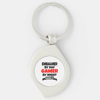 Embalmer by Day Gamer by Night Silver-Colored Swirl Keychain