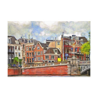 Embankment of Amstel and and The Blauwbrug. Canvas Print
