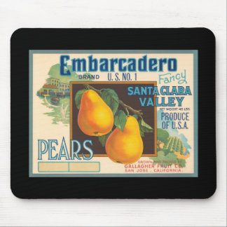 Embarcadero Pears Crate Label Mouse Pad