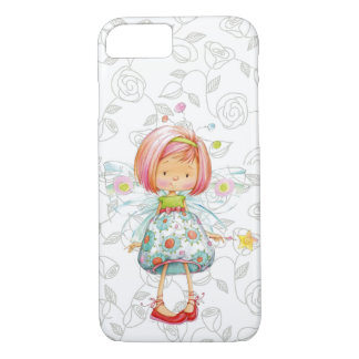 Embarrassed LIttle Fairy Girl with Rose Background iPhone 8/7 Case