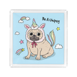 Embarrassed Pug with Unicorn Hat on Acrylic Tray