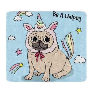 Embarrassed Pug with Unicorn Hat on Cutting Board