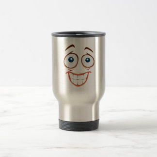 Embarrassed Smiling Yellow Smiley Face Travel Mug