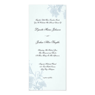 Embassy Floral Blue Wedding Invitations Tea