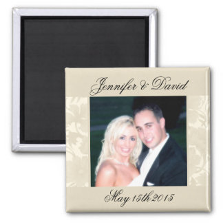 Embassy Floral Ecru Creme Save The Date Photo Magnet