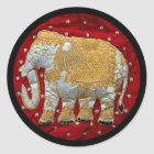 Embellished Indian Elephant Red and Gold Classic Round Sticker
