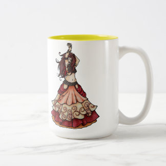 Ember belly dancer with zills Two-Tone coffee mug