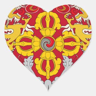 Emblem of Bhutan (རྒྱལ་ཡོངས་ལས་རྟགས་) Heart Sticker