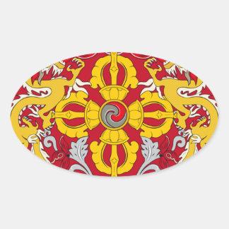 Emblem of Bhutan (རྒྱལ་ཡོངས་ལས་རྟགས་) Oval Sticker