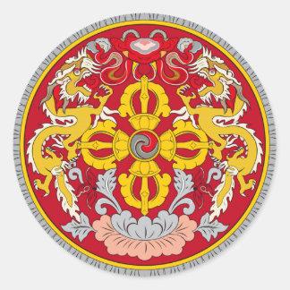 Emblem of Bhutan (རྒྱལ་ཡོངས་ལས་རྟགས་) Round Sticker