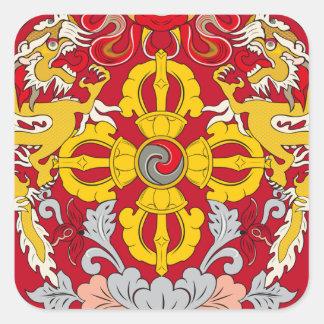 Emblem of Bhutan (རྒྱལ་ཡོངས་ལས་རྟགས་) Square Sticker