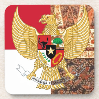 Emblem of Indonesia - Garuda Pancasila  Batik Flag Drink Coasters