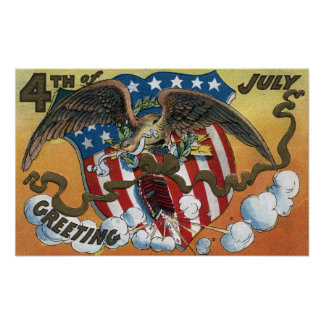 Emblème d Eagle tenant des feux d artifice Drapea Poster