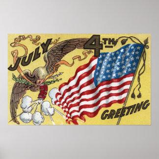 Emblème d Eagle tenant des feux d artifice drapea Affiche
