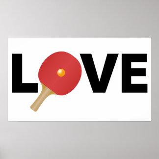 Emblème d'amour de ping-pong (rouge) poster