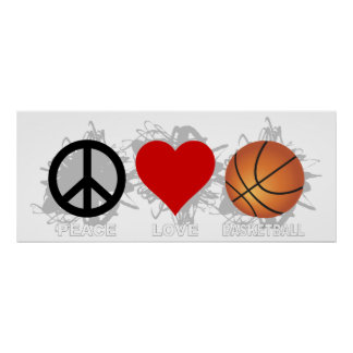 Emblème de basket-ball d'amour de paix poster