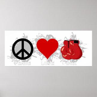 Emblème de boîte d'amour de paix poster