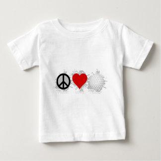 Emblème de golf d'amour de paix t-shirt