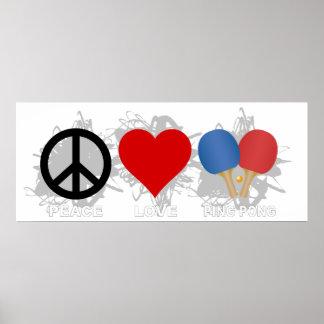 Emblème de ping-pong d'amour de paix poster